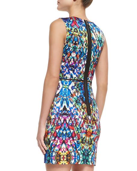 Stained-Glass-Print Slim Sheath Dress