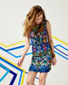 Stained-Glass-Print Slim Sheath Dress