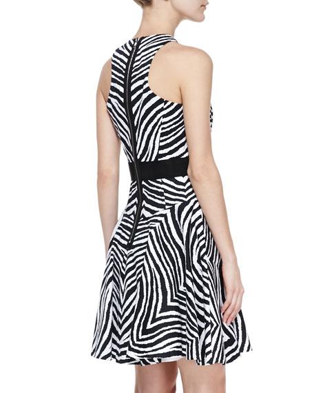 Zebra-Print A-Line Dress