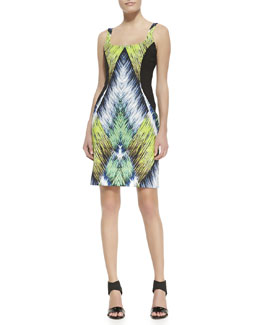 Milly Printed Side-Panel Knit Dress