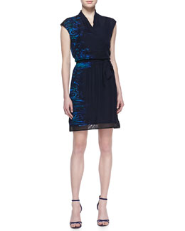 Elie Tahari Cadence Silk Tie-Waist Dress