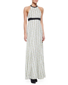 Rag & Bone Cora Maxi Print Dress With Leather-Trim