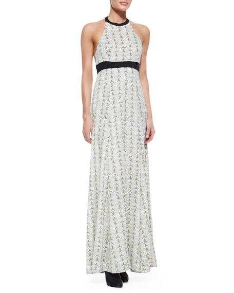 Cora Maxi Print Dress With Leather-Trim
