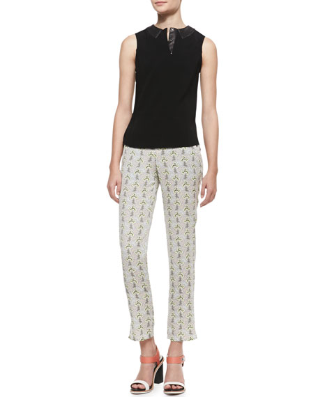 Stanley Cropped Printed Pants with Leather-Trimmed Pockets, Multicolor
