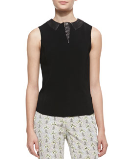 Rag & Bone Easy Becker Sleeveless Leather Trim Top, Black