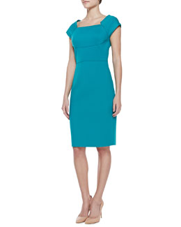 T Tahari Jemma Crepe Square-Neck Dress
