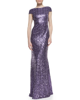 Badgley Mischka Collection Cap-Sleeve Cowl-Back Sequined Gown, Lilac