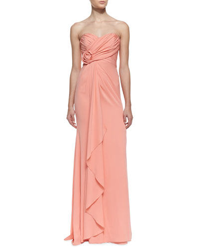 Badgley Mischka Collection Strapless Ruffle-Front Gown with Rosette Detail, Coral