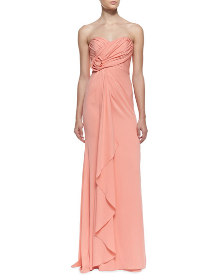 Strapless Ruffle-Front Gown with Rosette Detail, Coral