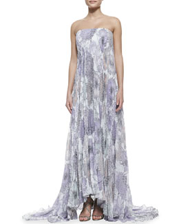 Badgley Mischka Collection Strapless Floral Cape-Back High-Low Gown, Ivory/Multicolor