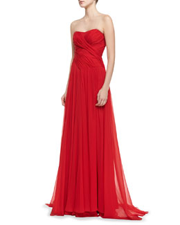 Badgley Mischka Collection Strapless Ruched-Bodice Gown, Red