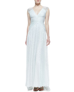 Badgley Mischka Collection Sleeveless Beaded-Shoulder Burnout Gown, Mint White