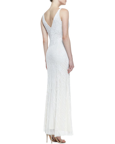 Sleeveless Sequined Swirl Pattern Gown, Ivory