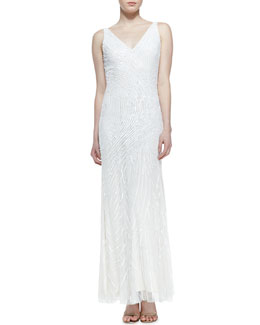Aidan Mattox Sleeveless Sequined Swirl Pattern Gown, Ivory