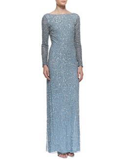 Aidan Mattox Long-Sleeve Sequined Gown, Ocean Blue