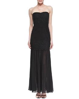 Aidan Mattox Strapless Lace Mermaid Gown, Black
