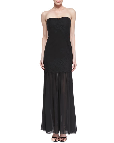 Strapless Lace Mermaid Gown, Black