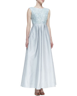 Aidan Mattox Cap-Sleeve Sequin-Bodice Ball Gown, Ice Blue