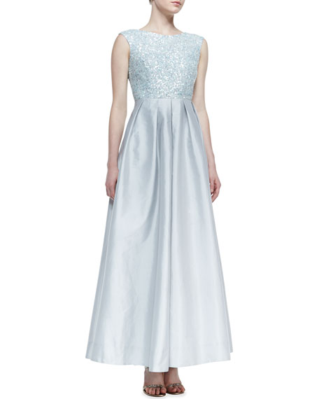 Cap-Sleeve Sequin-Bodice Ball Gown, Ice Blue