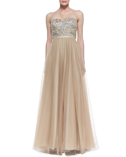 Aidan Mattox Strapless Beaded Bodice Ball Gown, Gold