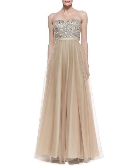 Strapless Beaded Bodice Ball Gown, Gold