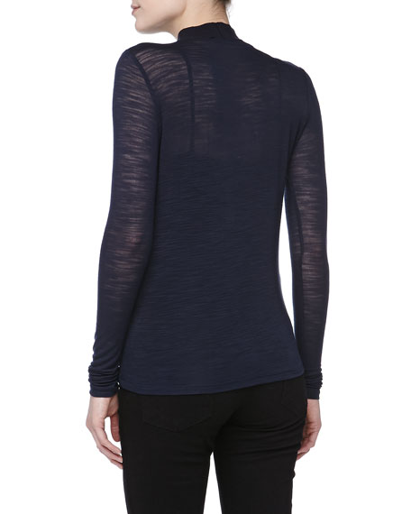 Slub Jersey Mock-Neck Top