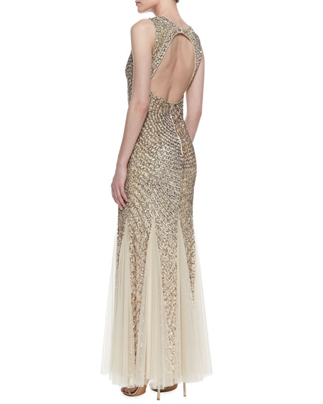 Sleeveless Beaded Patterned Godet Gown, Light Gold
