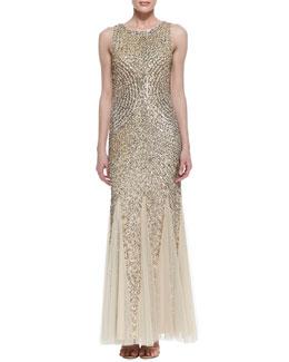 Aidan Mattox Sleeveless Beaded Patterned Godet Gown, Light Gold