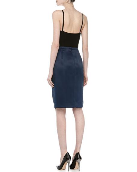 Front Pleated Full Skirt, Navy