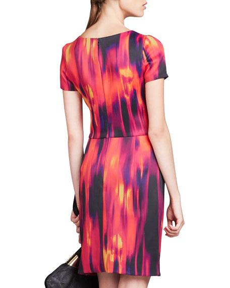 Printed Front-Drape Dress