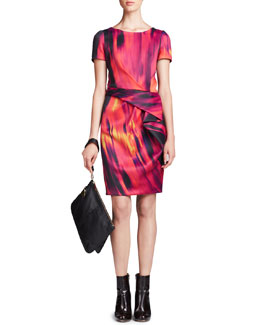 Halston Heritage Printed Front-Drape Dress