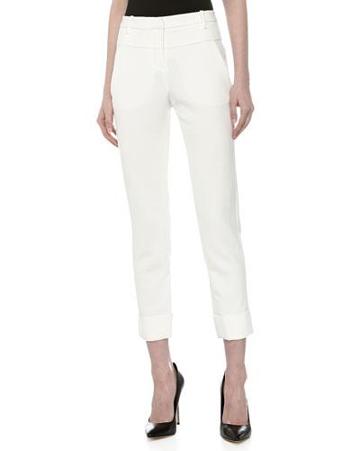 Halston Heritage Double-Waist Slim Cuffed Pants, Bone