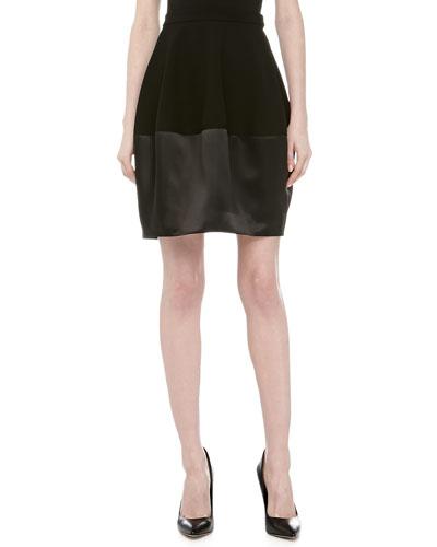 Halston Heritage Contrast Satin & Knit Bell Skirt, Black