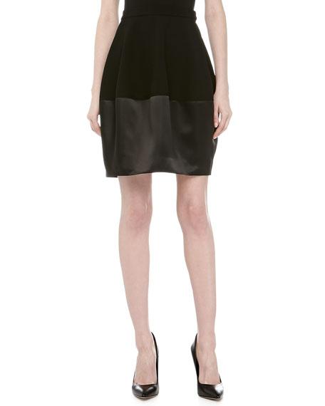 Contrast Satin & Knit Bell Skirt, Black