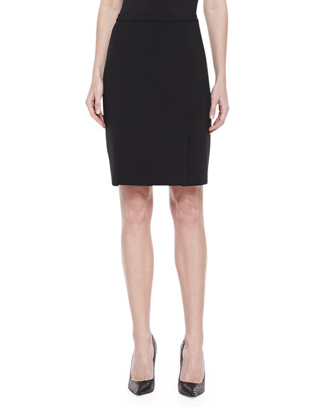 Crepe Pencil Skirt, Black