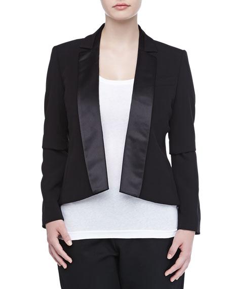 Open-Front Stretch Satin Tuxedo Jacket, Black