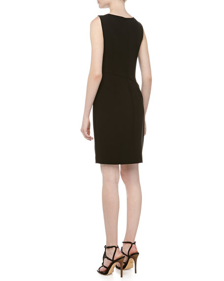 Sleeveless Asymmetric-Fold Sheath Dress, Black