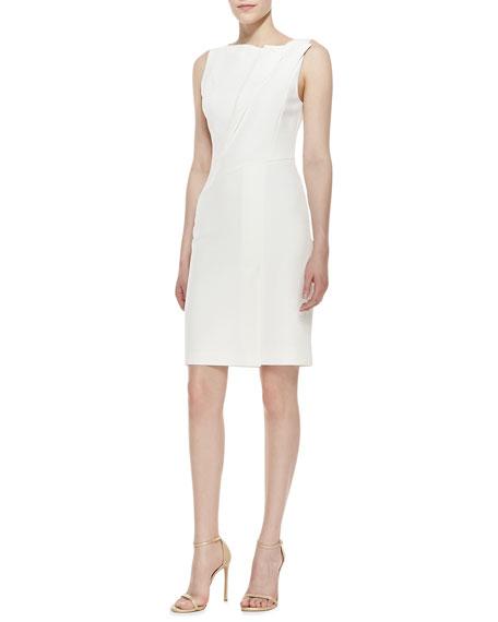Fold-Neck Detail Dress, Bone