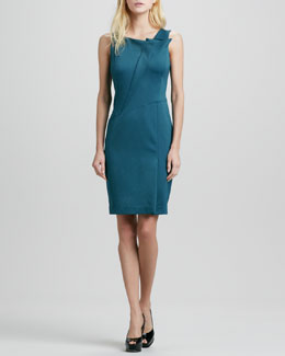 Halston Heritage Fold-Neck Detail Dress
