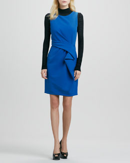 Halston Heritage Sleeveless Front-Drape Dress