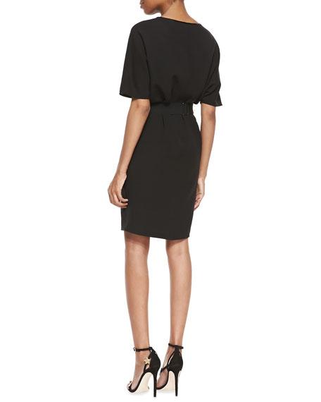 Short-Dolman-Sleeve Dress, Black