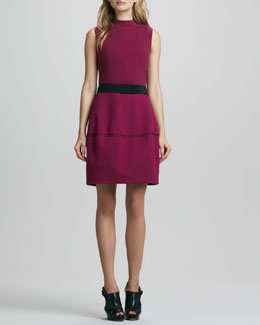 Halston Heritage Sleeveless Ribbed-Top Dress