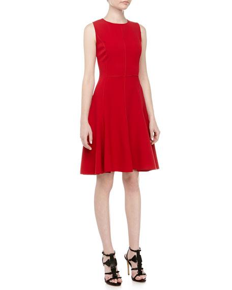 Halston Heritage Exposed Seam Fit-And-Flare Dress, Crimson