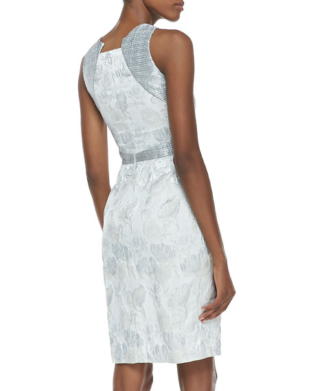 Sleeveless Metallic Floral-Print Cocktail Dress, Silver