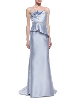 Carmen Marc Valvo Strapless Ruffle-Bodice Beaded-Waist Gown, Silver