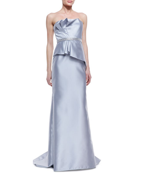 Strapless Ruffle-Bodice Beaded-Waist Gown, Silver