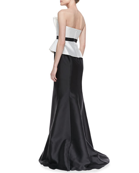 Strapless Ruffle Bodice Combo Gown, Ivory/Black