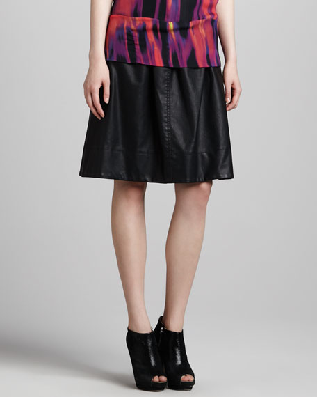 Mid-Length Faux-Leather Skirt, Black