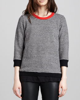 Halston Heritage Striped Contrast-Neck Sweater, Black/Bone