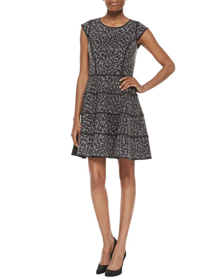 Halston Heritage Cap Sleeve Printed Dress, Heather Gray